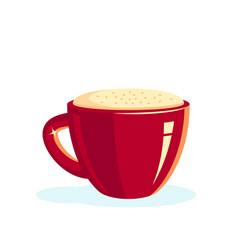 red cup coffee with foam vector image