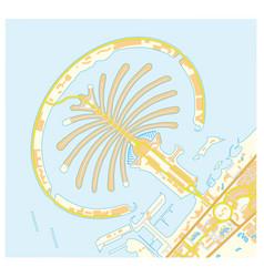 road map of palm jumeirah islands dubai united vector image