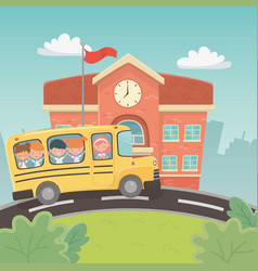 school building and bus with kids in landscape vector image