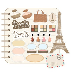 scrapbook elements and cosmetic vector image
