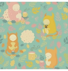 Seamless pattern with mugs of tea and cookies vector