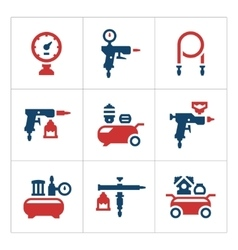 Set color icons compressor and accessories vector