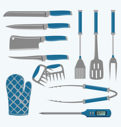 set different tools for barbecue party meat vector image