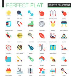 set flat sport equipment icons vector image