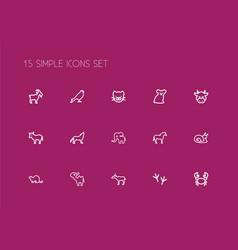 set of 15 editable animal icons line style vector image