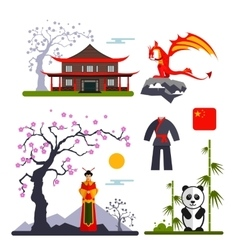 Set of China characters with dragon woman vector
