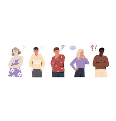 set of confused people of different genders vector image