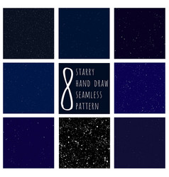set of cosmos and space hand draw seamless vector image