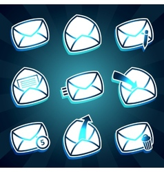 Set of icons messages envelop for email vector image