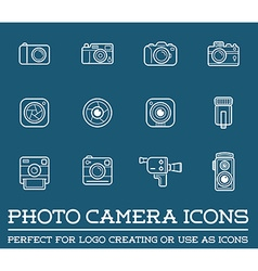 Set of Photo or Camera Elements and Video Camera vector