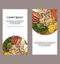 Set of vertical banners with color ramen and place vector