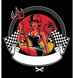 Sexy devil wearing motorcycle helmet vector