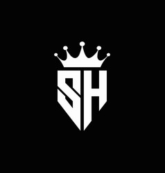 sh logo monogram emblem style with crown shape vector image