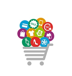 Shopping things on shopping cart vector