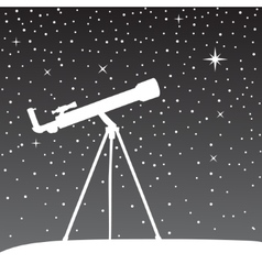 Silhouette of telescope on the night sky vector