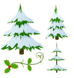 snow covered fir trees vector image
