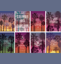 Summer Travel Backgrounds with Palms vector image