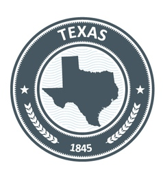 Texas stamp with state map silhouette vector image