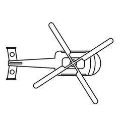 Top view helicopter icon outline style vector