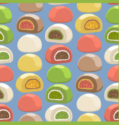 Traditional japanese mochi desserts different vector