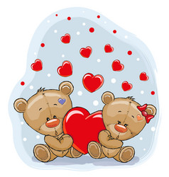 Two bears with heart vector