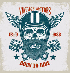 Vintage motors ride hard vintage racer skull in vector