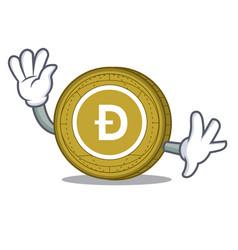 waving dogecoin character cartoon style vector image