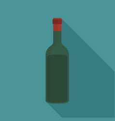 wine bottle flat long shadow design icon vector image