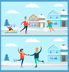 wintertime activities nature vector image