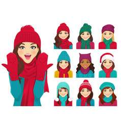 Women set in hats vector
