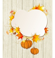Yellow maple leaves and pumpkins vector