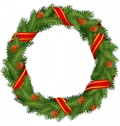 christmas wreath with red ribb vector image vector image