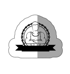 contour sticker border with silhouette muscle man vector image