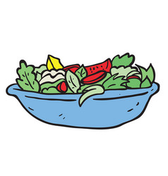 freehand drawn cartoon salad vector image vector image