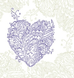 Happy Heart of doodle ornament in zentangle style vector image