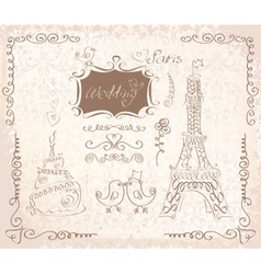 Love in Paris doodles vector image