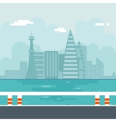 River Water Sea Modern City Background Flat Design vector image