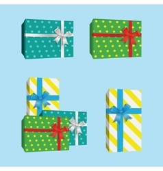 3D Gift Boxes Presents With Silver Ribbon Bow vector image vector image