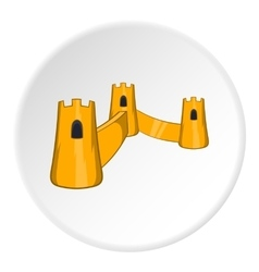 Castle with three towers icon cartoon style vector image