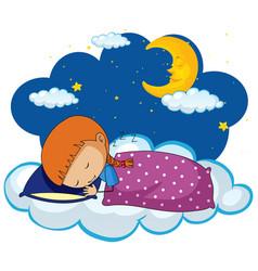 cute girl sleeping on blue pillow vector image
