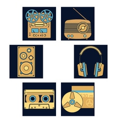 Dark blue music icons vector image vector image