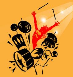 Rock drummer vector image vector image