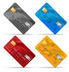 set of detailed credit cards isolated on vector image