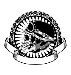 skull with helmet vector image