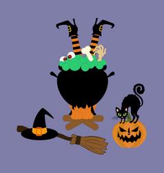 halloween witch cauldron vector image vector image