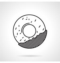 Round cookie black line icon vector image vector image