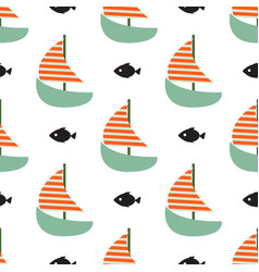 sailboat and fish seamless child funny vector image vector image