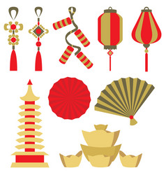 set of chinese symbol vector image