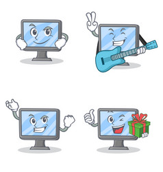 set of monitor character with smirking guitar vector image vector image