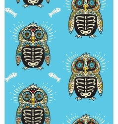 Sugar skull penguins pattern Mexican day of the vector image
